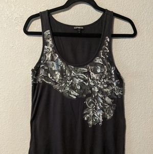 Express Gray with Silver sequence Medium Top